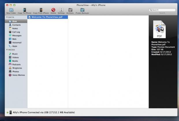 phoneview main menu
