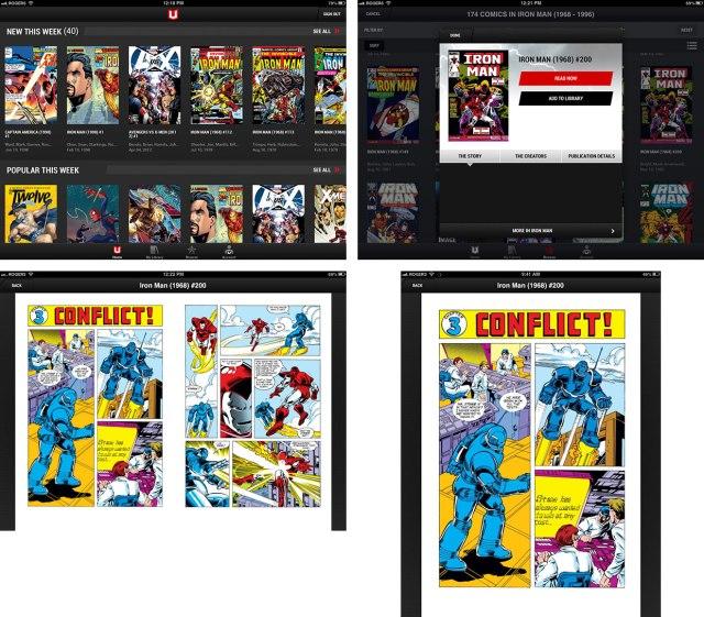 Marvel Unlimited on iPad screens